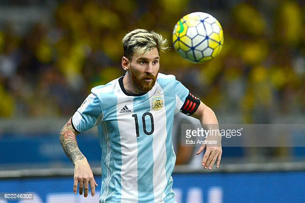 Lionel Messi of Argentina looks at the ball during a match between Argentina and Brazil as part of FIFA 2018 World Cup Qualifiers at Mineirao Stadium...