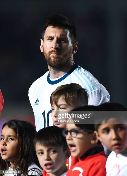 Lionel Messi of Argentina looks at the camera before a friendly match between Argentina and Nicaragua at Estadio San Juan del Bicentenario on May 7...