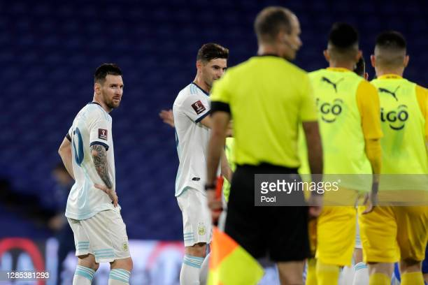 Lionel Messi of Argentina looks dejected after a match between Argentina and Paraguay as part of South American Qualifiers for Qatar 2022 at Estadio...