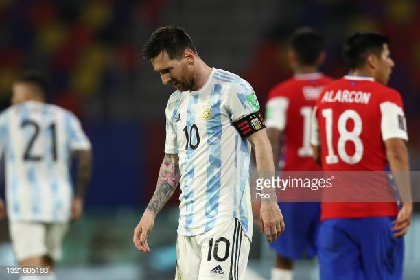 Lionel Messi of Argentina looks dejected after a match between Argentina and Chile as part of South American Qualifiers for Qatar 2022 at Estadio...