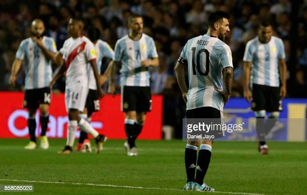 Lionel Messi of Argentina looks dejected after a match between Argentina and Peru as part of FIFA 2018 World Cup Qualifiers at Estadio Alberto J...