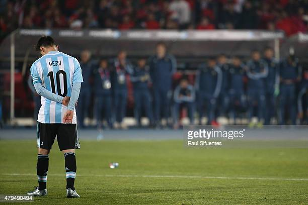 Lionel Messi of Argentina looks dejected after the 2015 Copa America Chile Final match between Chile and Argentina at Nacional Stadium on July 04...