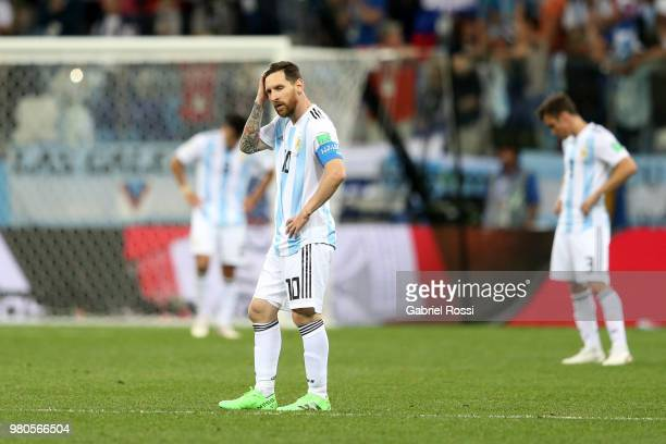 Lionel Messi of Argentina looks dejected after the 2018 FIFA World Cup Russia group D match between Argentina and Croatia at Nizhny Novgorod Stadium...