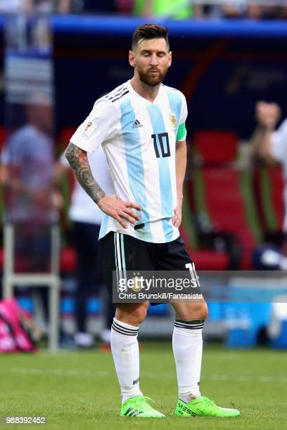 Lionel Messi of Argentina looks dejected after the 2018 FIFA World Cup Russia Round of 16 match between France and Argentina at Kazan Arena on June...