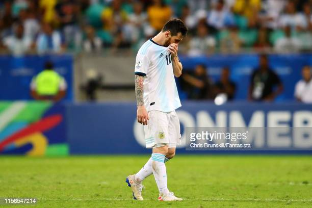 Lionel Messi of Argentina looks dejected after the Copa America Brazil 2019 group B match between Argentina and Colombia at Arena Fonte Nova on June...