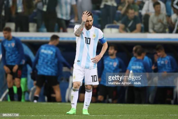 Lionel Messi of Argentina looks dejected during the 2018 FIFA World Cup Russia group D match between Argentina and Croatia at Nizhny Novgorod Stadium...