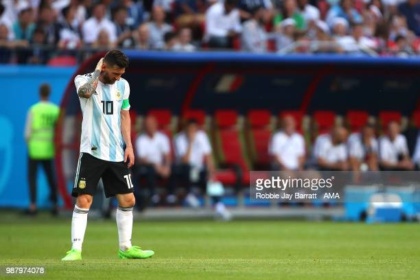 Lionel Messi of Argentina looks dejected during the 2018 FIFA World Cup Russia Round of 16 match between France and Argentina at Kazan Arena on June...