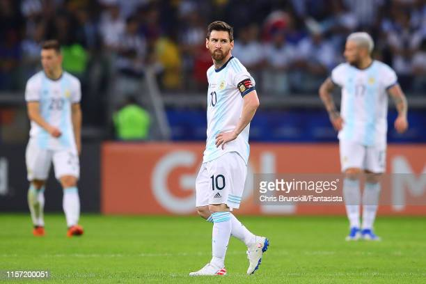 Lionel Messi of Argentina looks dejected during the Copa America Brazil 2019 group B match between Argentina and Paraguay at Mineirao Stadium on June...