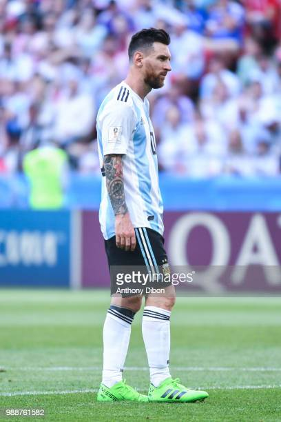 Lionel Messi of Argentina looks dejected during the FIFA World Cup Round of 16 match between France and Argentina at Kazan Arena on June 30 2018 in...