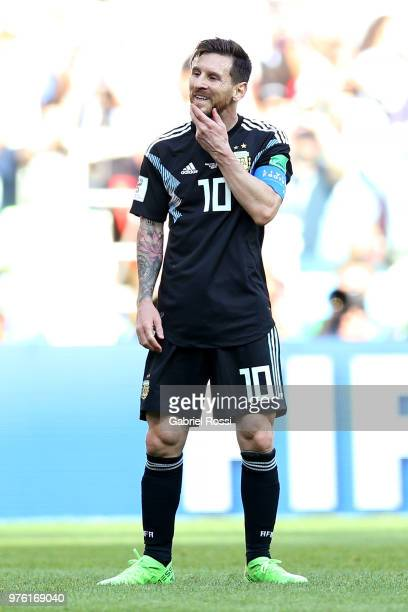 Lionel Messi of Argentina looks dejected following his missed penalty during the 2018 FIFA World Cup Russia group D match between Argentina and...