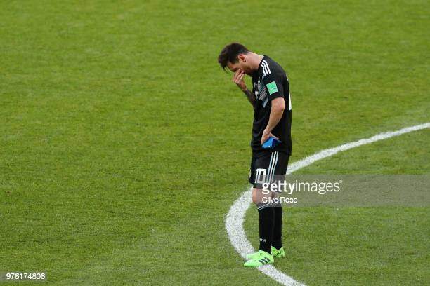 Lionel Messi of Argentina looks dejected following the 2018 FIFA World Cup Russia group D match between Argentina and Iceland at Spartak Stadium on...