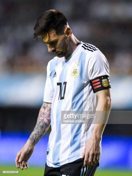 Lionel Messi of Argentina looks down during an international friendly match between Argentina and Haiti at Alberto J Armando Stadium on May 29 2018...