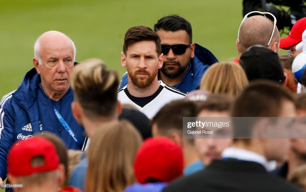 Lionel Messi of Argentina looks on after an open to public training session at Bronnitsy Training Camp on June 11, 2018 in Bronnitsy, Russia.