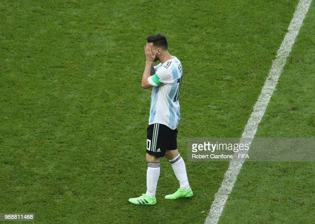 Lionel Messi of Argentina looks on after his side conceded a fourth goal during the 2018 FIFA World Cup Russia Round of 16 match between France and...