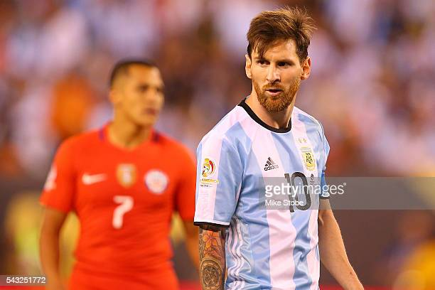 Lionel Messi of Argentina looks on against Chile during the Copa America Centenario Championship match at MetLife Stadium on June 26 2016 in East...