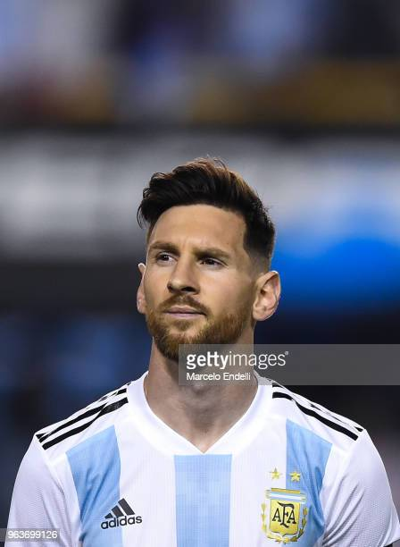 Lionel Messi of Argentina looks on before an international friendly match between Argentina and Haiti at Alberto J Armando Stadium on May 29 2018 in...