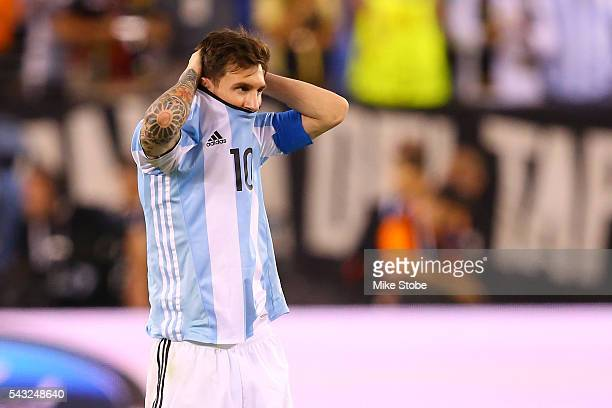 Lionel Messi of Argentina looks on before the game winning penalty kick is made during the Copa America Centenario Championship match at MetLife...