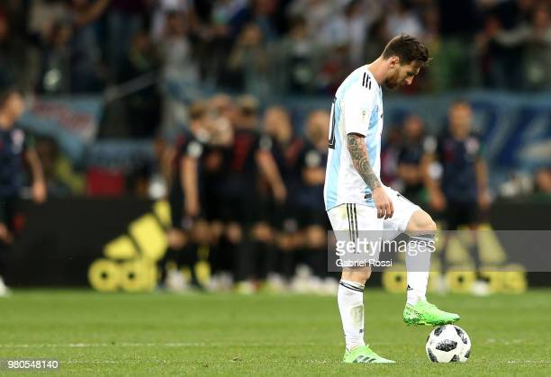 Lionel Messi of Argentina looks on dejected after Croatia's first goal during the 2018 FIFA World Cup Russia group D match between Argentina and...