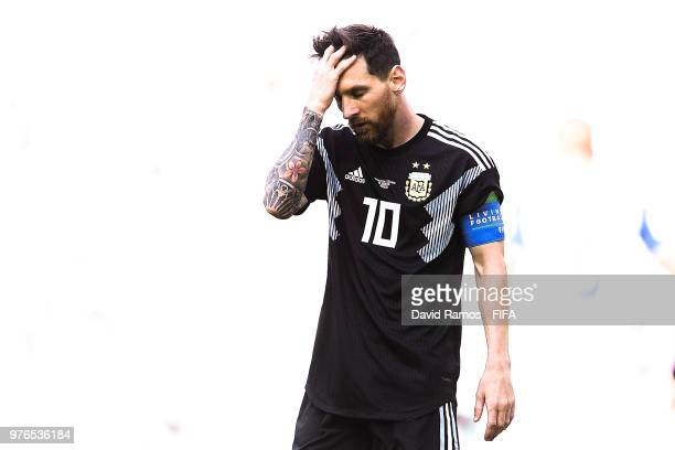 Lionel Messi of Argentina looks on dejected during the 2018 FIFA World Cup Russia group D match between Argentina and Iceland at Spartak Stadium on...