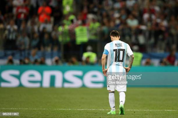 Lionel Messi of Argentina looks on dejected during the 2018 FIFA World Cup Russia group D match between Argentina and Croatia at Nizhny Novgorod...