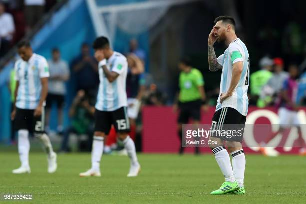 Lionel Messi of Argentina looks on dejected during the 2018 FIFA World Cup Russia Round of 16 match between France and Argentina at Kazan Arena on...