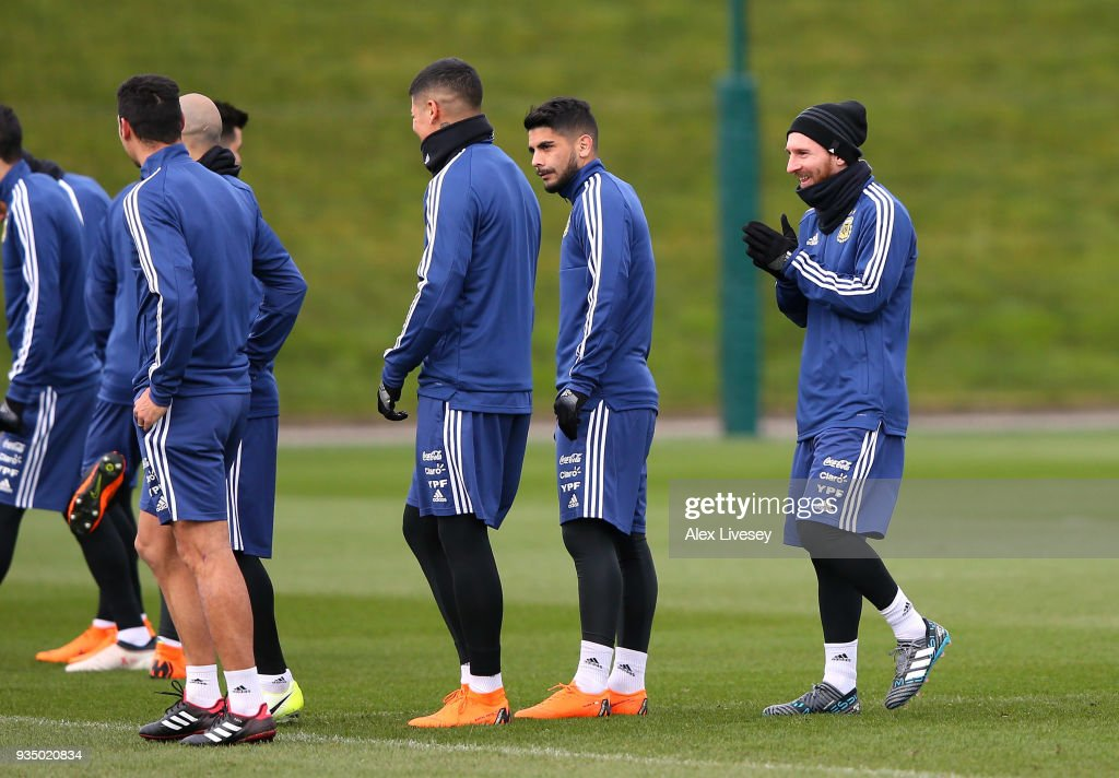 Lionel Messi of Argentina looks on during a Argentina training session at Manchester City Football Academy on March 20, 2018 in Manchester, England.