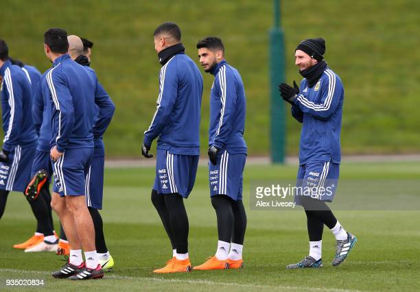 Lionel Messi of Argentina looks on during a Argentina training session at Manchester City Football Academy on March 20 2018 in Manchester England