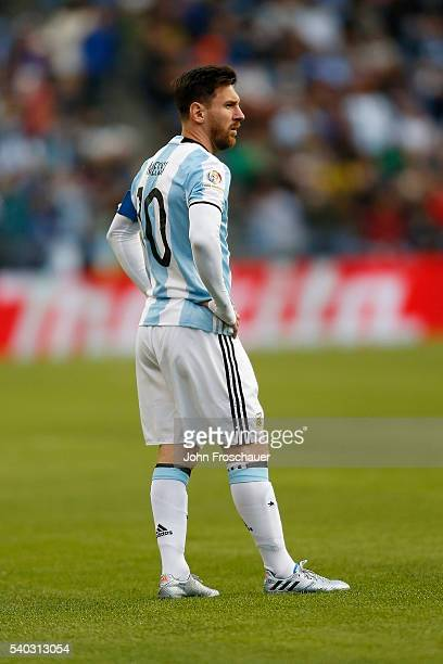 Lionel Messi of Argentina looks on during a group D match between Argentina and Bolivia at CenturyLink Field as part of Copa America Centenario US...