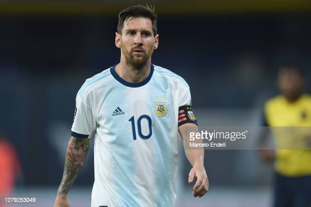 Lionel Messi of Argentina looks on during a match between Argentina and Ecuador as part of South American Qualifiers for Qatar 2022 at Estadio...