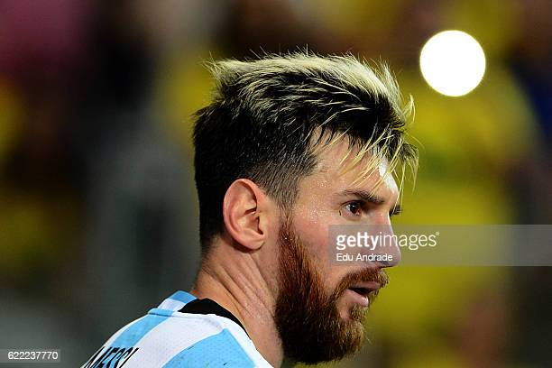 Lionel Messi of Argentina looks on during a match between Argentina and Brazil as part of FIFA 2018 World Cup Qualifiers at Mineirao Stadium on...