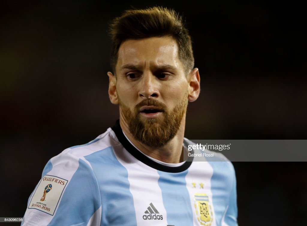 Lionel Messi of Argentina looks on during a match between Argentina and Venezuela as part of FIFA 2018 World Cup Qualifiers at Monumental Stadium on September 05, 2017 in Buenos Aires, Argentina.