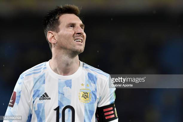 Lionel Messi of Argentina looks on during a match between Colombia and Argentina as part of South American Qualifiers for Qatar 2022 at Estadio...