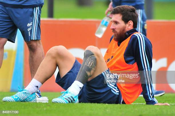 Lionel Messi of Argentina looks on during a training session at 'Julio Humberto Grondona' training camp on August 28 2017 in Ezeiza Argentina