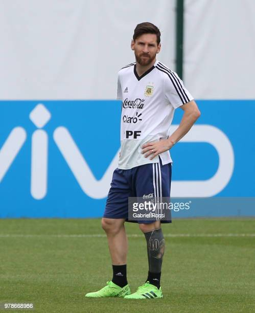 Lionel Messi of Argentina looks on during a training session at Stadium of Syroyezhkin sports school on June 19 2018 in Bronnitsy Russia