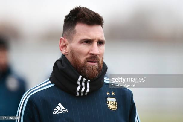 Lionel Messi of Argentina looks on during a training session at Spartak Stadium on November 7 2017 in Moscow Russia