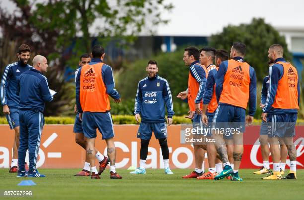 Lionel Messi of Argentina looks on during a training session at Argentine Football Association 'Julio Humberto Grondona' training camp on October 03...