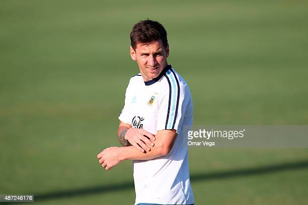 Lionel Messi of Argentina looks on during a training session at SMU Westcott Field on September 07 2015 in Dallas United States
