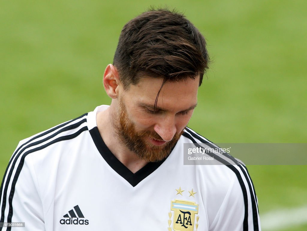 Lionel Messi of Argentina looks on during a training session at the team base camp on June 13, 2018 in Bronnitsy, Russia.