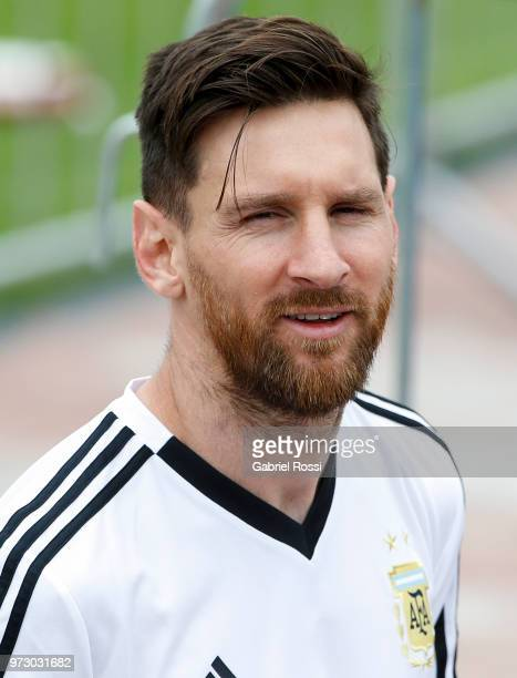 Lionel Messi of Argentina looks on during a training session at the team base camp on June 13 2018 in Bronnitsy Russia