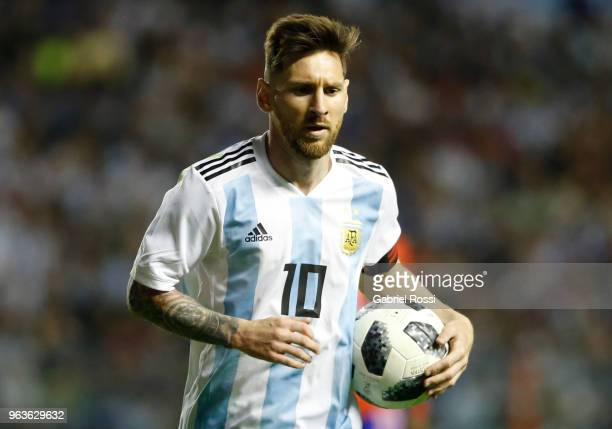 Lionel Messi of Argentina looks on during an international friendly match between Argentina and Haiti at Alberto J Armando Stadium on May 29 2018 in...