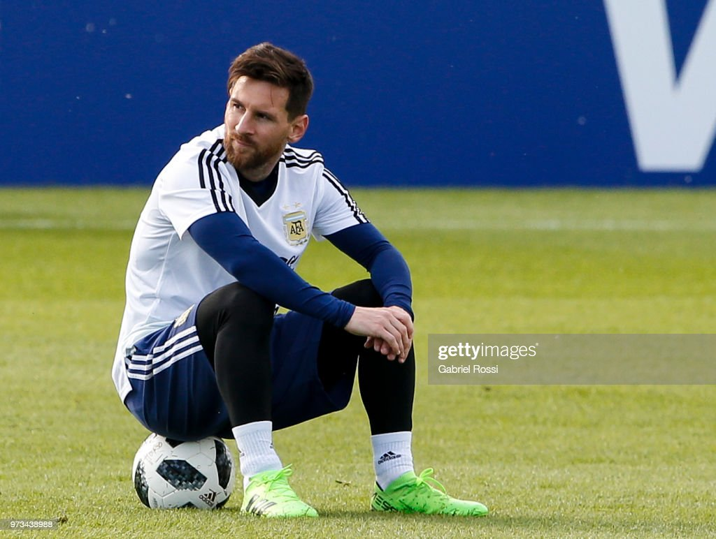 Lionel Messi of Argentina looks on during an open to public training session at Bronnitsy Training Camp on June 11, 2018 in Bronnitsy, Russia.