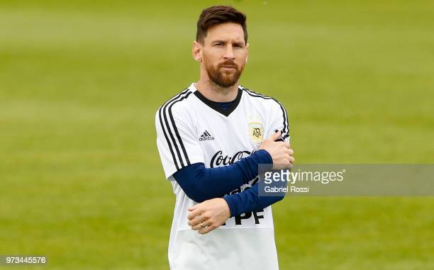 Lionel Messi of Argentina looks on during an open to public training session at Bronnitsy Training Camp on June 11 2018 in Bronnitsy Russia