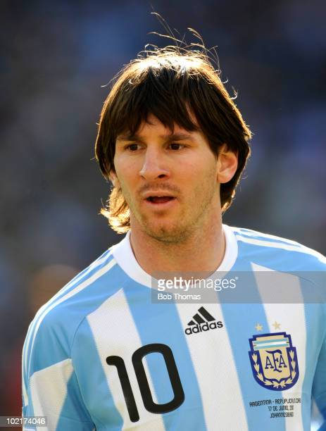Lionel Messi of Argentina looks on during the 2010 FIFA World Cup South Africa Group B match between Argentina and South Korea at Soccer City Stadium...