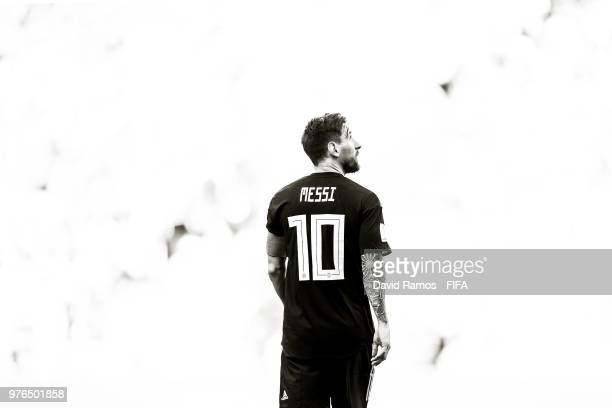 Lionel Messi of Argentina looks on during the 2018 FIFA World Cup Russia group D match between Argentina and Iceland at Spartak Stadium on June 16...