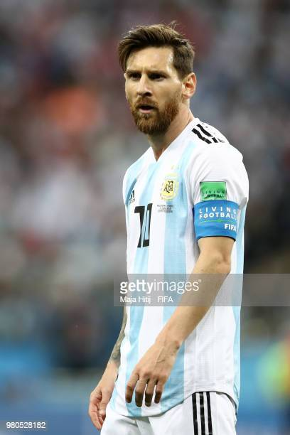 Lionel Messi of Argentina looks on during the 2018 FIFA World Cup Russia group D match between Argentina and Croatia at Nizhny Novgorod Stadium on...