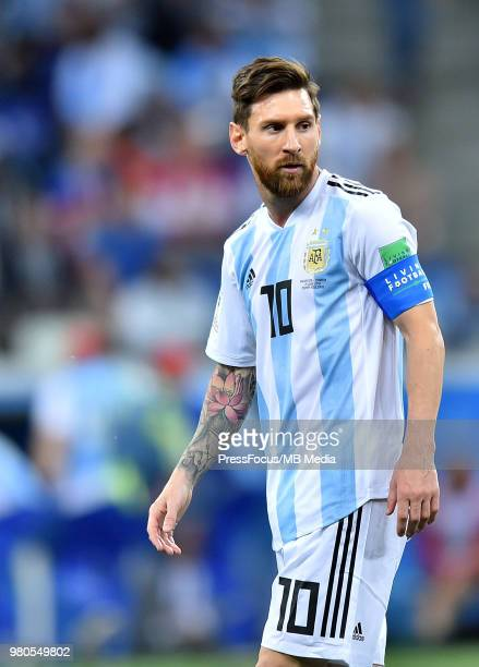 Lionel Messi of Argentina looks on during the 2018 FIFA World Cup Russia group D match between Argentina and Croatia at Nizhniy Novgorod Stadium on...
