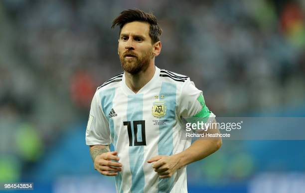 Lionel Messi of Argentina looks on during the 2018 FIFA World Cup Russia group D match between Nigeria and Argentina at Saint Petersburg Stadium on...