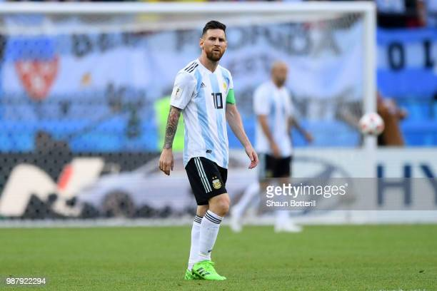 Lionel Messi of Argentina looks on during the 2018 FIFA World Cup Russia Round of 16 match between France and Argentina at Kazan Arena on June 30...
