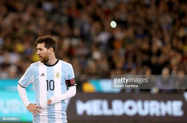 Lionel Messi of Argentina looks on during the Brazil Global Tour match between Brazil and Argentina at Melbourne Cricket Ground on June 9 2017 in...