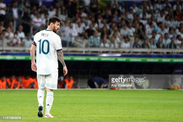 Lionel Messi of Argentina looks on during the Copa America Brazil 2019 group B match between Argentina and Paraguay at Mineirao Stadium on June 19,...